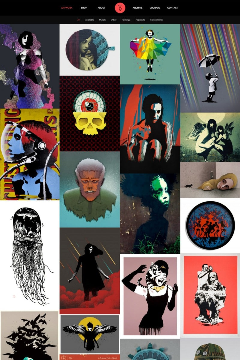 Screen grab of artist website