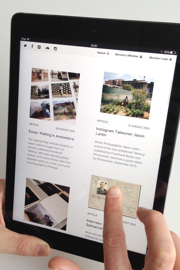 Photoworks website on an iPad