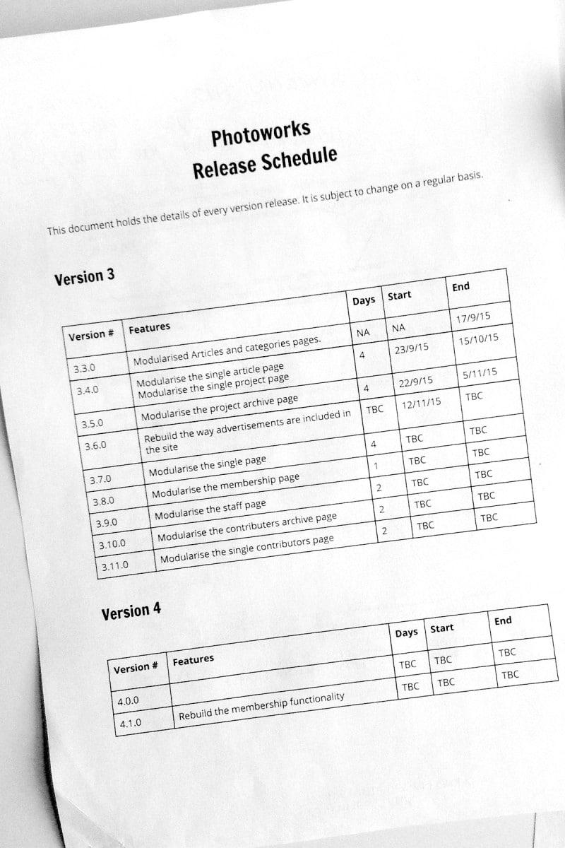 Website release schedule