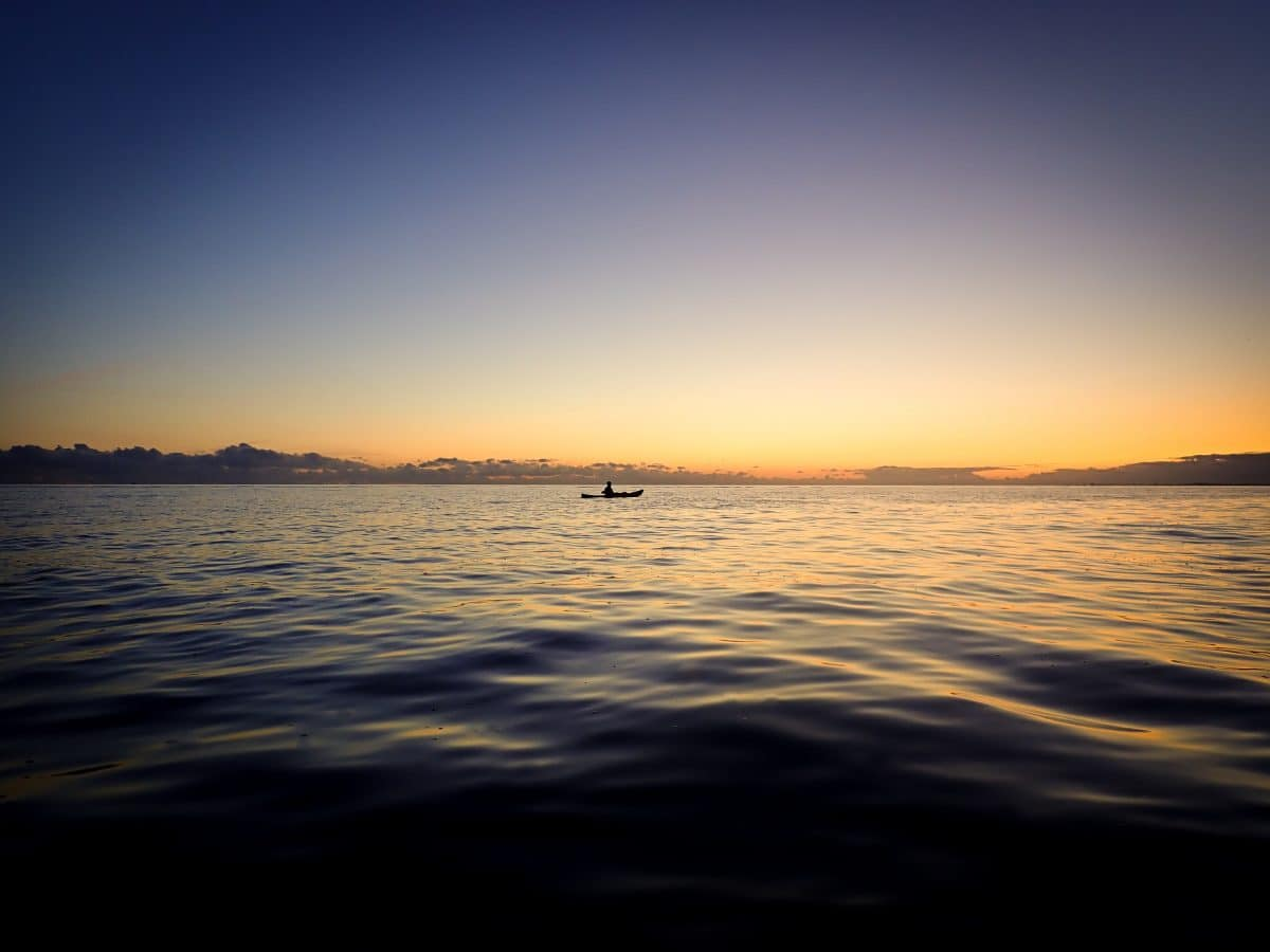 Kayaker on the sea at sunset