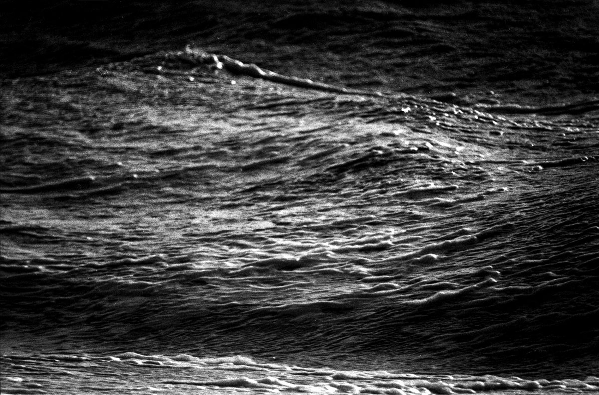 Photograph of the sea in black and white